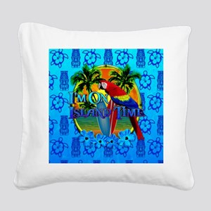 Island Time Surfing Tiki Square Canvas Pillow