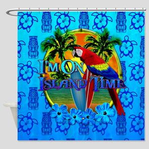Island Time Surfing Tiki Shower Curtain