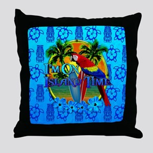 Island Time Surfing Tiki Throw Pillow