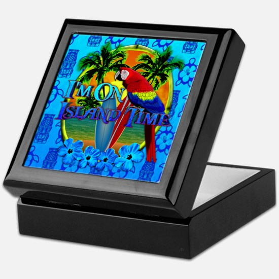 Island Time Surfing Tiki Keepsake Box