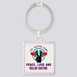 I am voting for Peace, Love and Ro Square Keychain