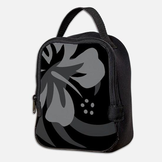 Hibiscus Black Neoprene Lunch Bag