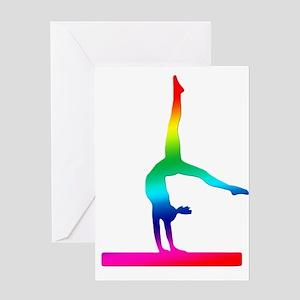 Flip Flop Rainbow Gymnast Greeting Card
