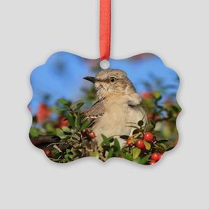 Mockingbird & Yaupon Berries Picture Ornament