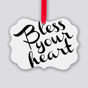 Bless Your Heart (in black) Picture Ornament