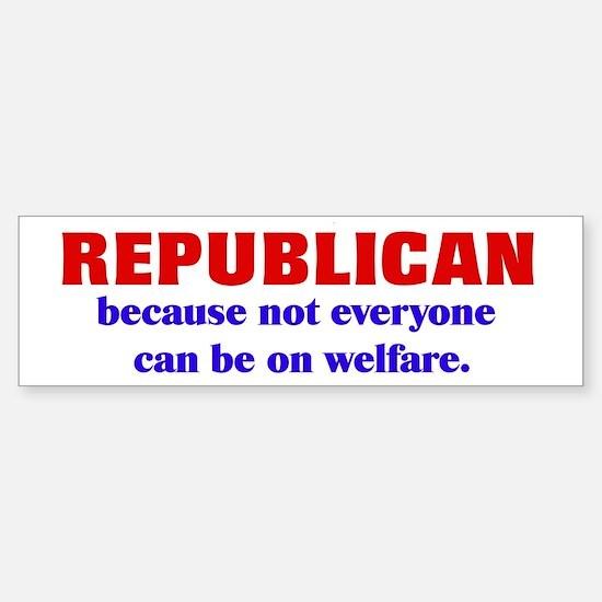 Republican Welfare Bumper Car Car Sticker