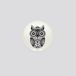 Sugar Skull Owl Mini Button