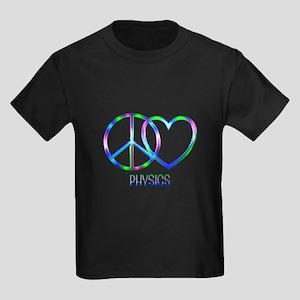 Peace Love Physics Kids Dark T-Shirt