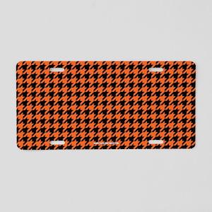 Houndstooth Orange Aluminum License Plate