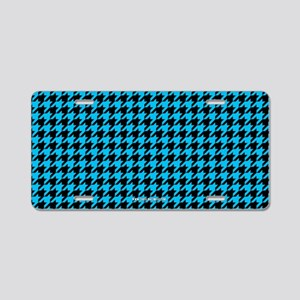 Houndstooth Blue Aluminum License Plate