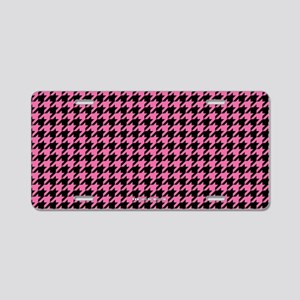 Houndstooth Pink Aluminum License Plate