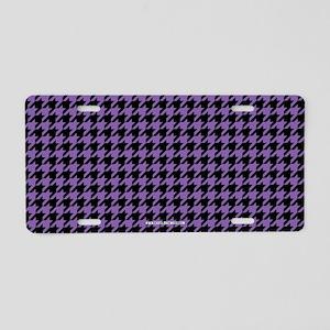Houndstooth Purple Aluminum License Plate