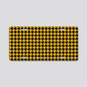 Houndstooth Yellow Aluminum License Plate