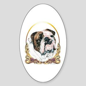 Bulldog Christmas/Holiday Oval Sticker
