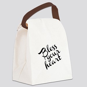 Bless Your Heart (in black) Canvas Lunch Bag