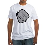 My Girlfriend is a Soldier dog tag Fitted T-Shirt