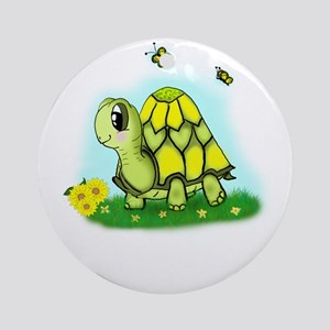 Turtle Sunflower and Butterflies Ornament (Round)