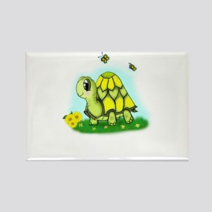 Turtle Sunflower and Butterflies Rectangle Magnet