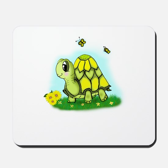 Turtle Sunflower and Butterflies Mousepad