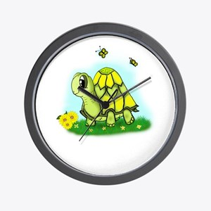 Turtle Sunflower and Butterflies Wall Clock