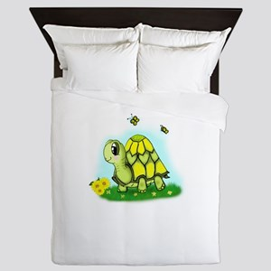 Turtle Sunflower and Butterflies Queen Duvet