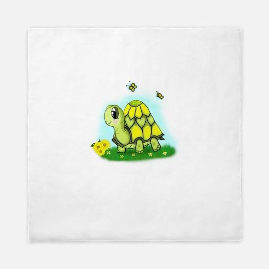 Turtle Sunflower and Butterflies Queen Duvet