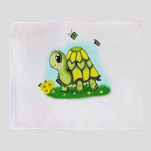 Turtle Sunflower and Butterflies Throw Blanket