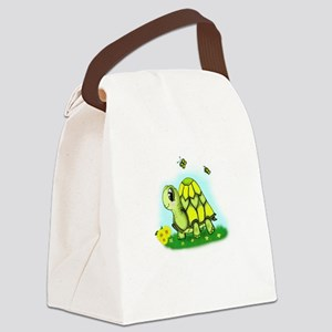Turtle Sunflower and Butterflies Canvas Lunch Bag