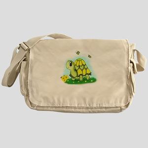Turtle Sunflower and Butterflies Messenger Bag
