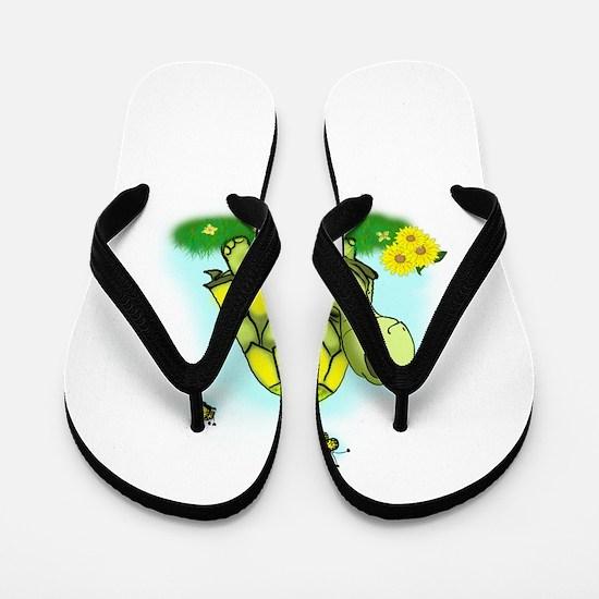 Turtle Sunflower and Butterflies Flip Flops