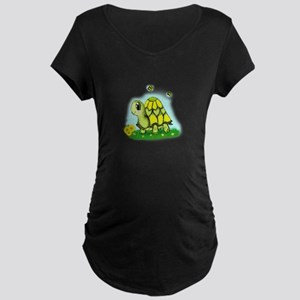 Turtle Sunflower and Butterflies Maternity T-Shirt
