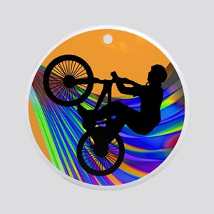 BMX on Rainbow Road Round Ornament