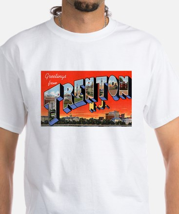 Trenton New Jersey Greetings (Front) White T-Shirt