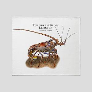 European Spiny Lobster Throw Blanket