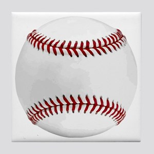 White Round Baseball Red Stitching Tile Coaster