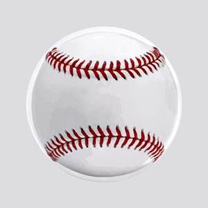 "White Round Baseball Red Stitching 3.5"" Button"