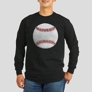 White Round Baseball Red  Long Sleeve Dark T-Shirt