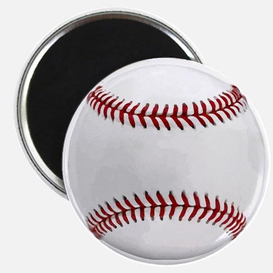 White Round Baseball Red Stitching Magnet