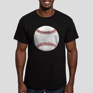 White Round Baseball R Men's Fitted T-Shirt (dark)