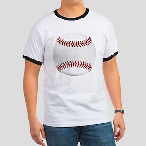 White Round Baseball Red Stitching Ringer T