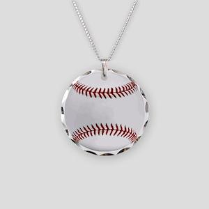 White Round Baseball Red Sti Necklace Circle Charm
