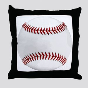 White Round Baseball Red Stitching Throw Pillow