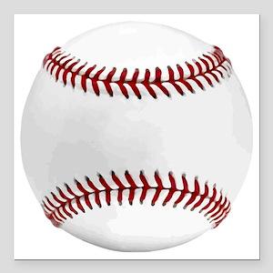 "White Round Baseball Red Square Car Magnet 3"" x 3"""