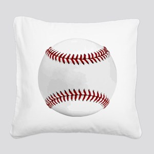 White Round Baseball Red Stit Square Canvas Pillow