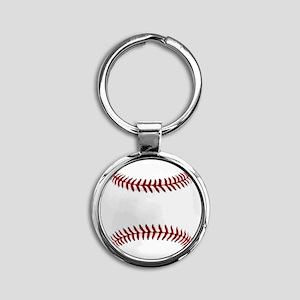 White Round Baseball Red Stitching Round Keychain