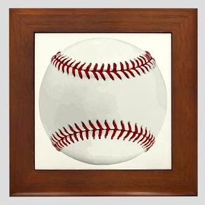 White Round Baseball Red Stitching Framed Tile