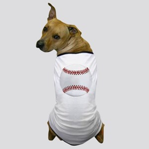 White Round Baseball Red Stitching Dog T-Shirt