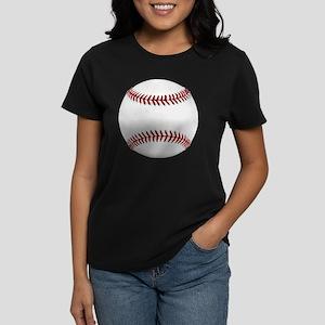 White Round Baseball Red Stit Women's Dark T-Shirt