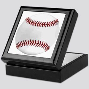 White Round Baseball Red Stitching Keepsake Box