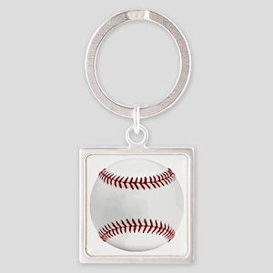 White Round Baseball Red Stitching Square Keychain